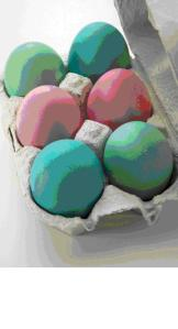 A box of coloured eggs